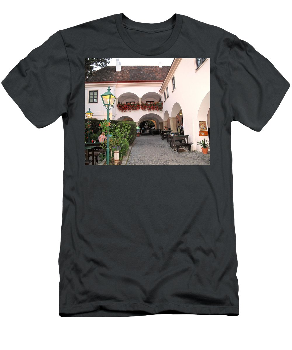 Wine Men's T-Shirt (Athletic Fit) featuring the photograph Vineyard Restaurant by Ian MacDonald