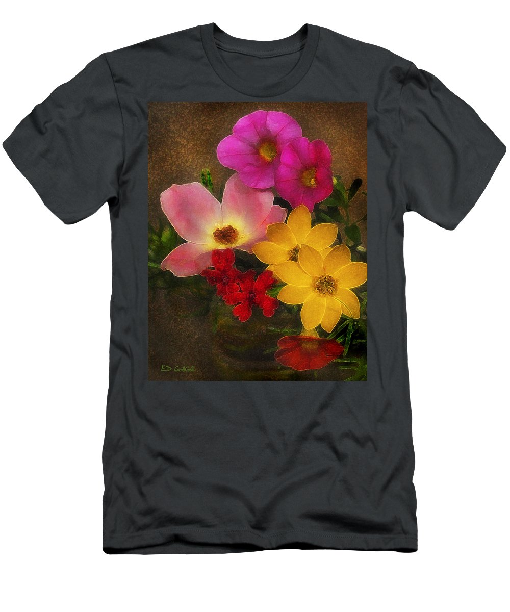 Flower Men's T-Shirt (Athletic Fit) featuring the photograph Vintage Bouquet by Ed A Gage