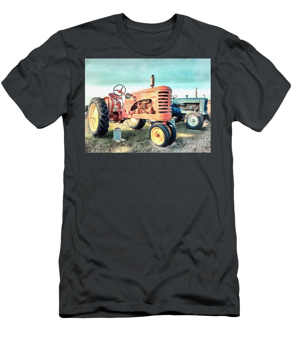 Painting Men's T-Shirt (Athletic Fit) featuring the painting Vintage Tractors Acrylic by Edward Fielding