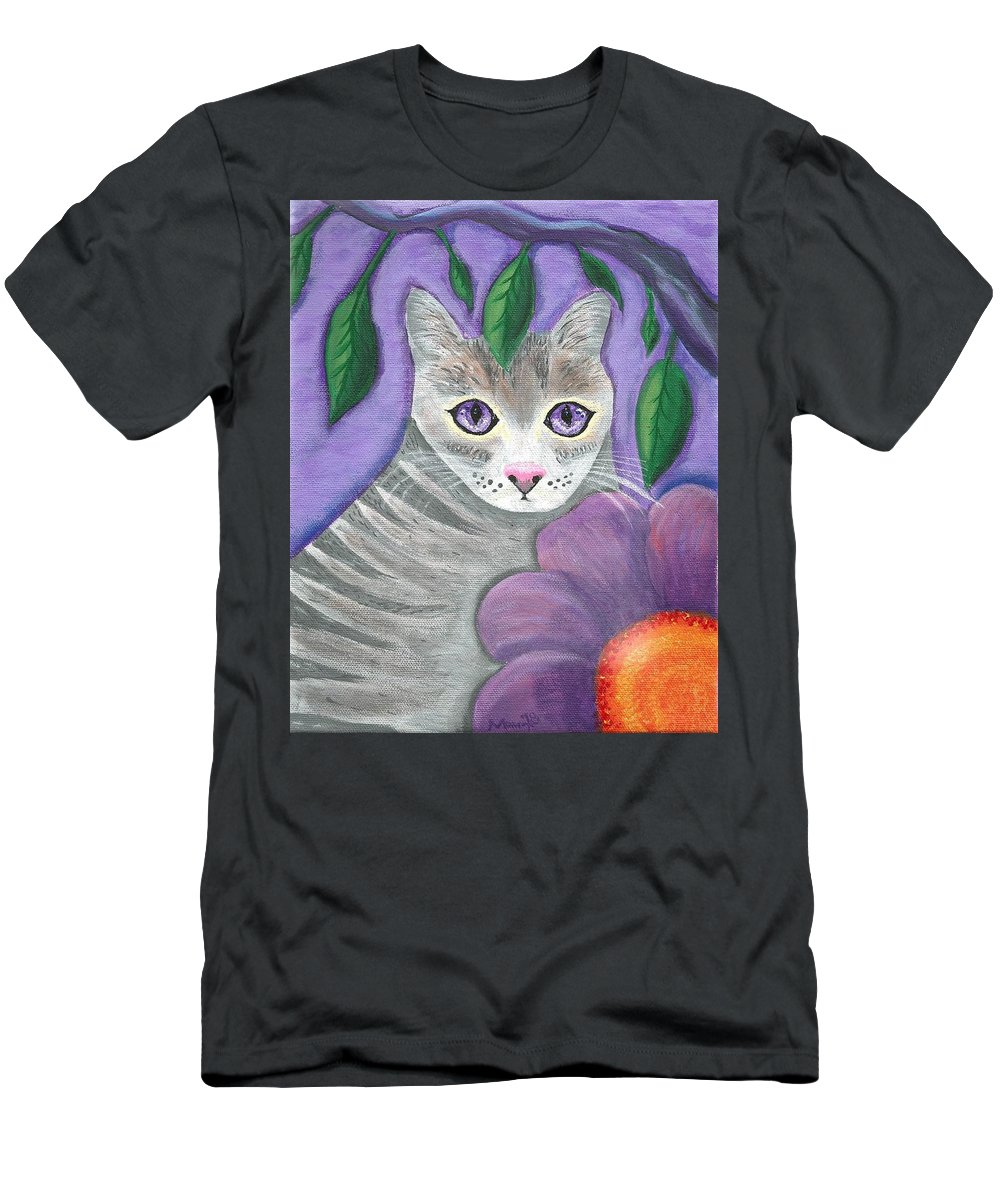 Violet Purple Lavender Eyes Kitty Cat Flower Floral Tabby Grey T-Shirt featuring the painting Violet Eyed Cat by Monica Resinger