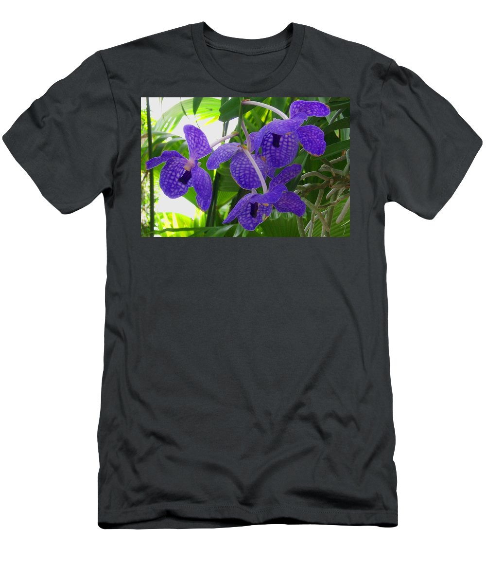 Orchid Men's T-Shirt (Athletic Fit) featuring the photograph Violet Orchid Trio by Laurie Paci