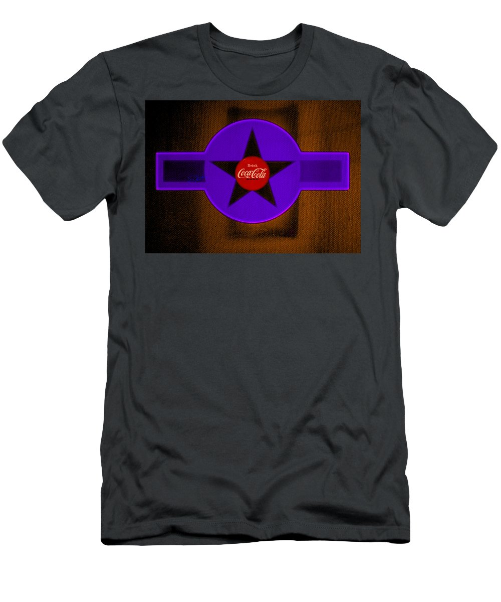 Label T-Shirt featuring the painting Violet with Red and Orange by Charles Stuart