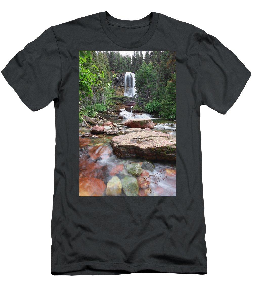 Virginia Falls Men's T-Shirt (Athletic Fit) featuring the photograph Virginia Falls - Glacier N.p. by Shari Jardina