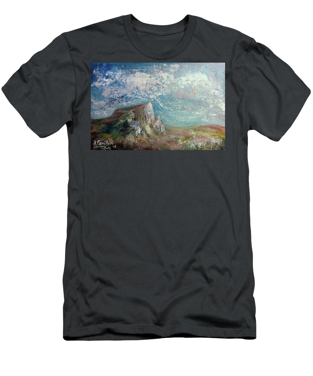Men's T-Shirt (Athletic Fit) featuring the painting Virtual Mountain by Anthony Camilleri