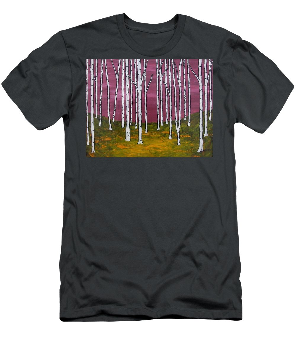 Art & Collectibles Painting Environment Surreal Painting Birch Tree Art Aspen Tree Painting Forest Artwork Tree Painting Yellow Modern Design Nature Painting Black Home Decor White Modern Design Purple Home Decor Pink Art Woods Men's T-Shirt (Athletic Fit) featuring the painting Vision Quest Xvii by Mike Kraus