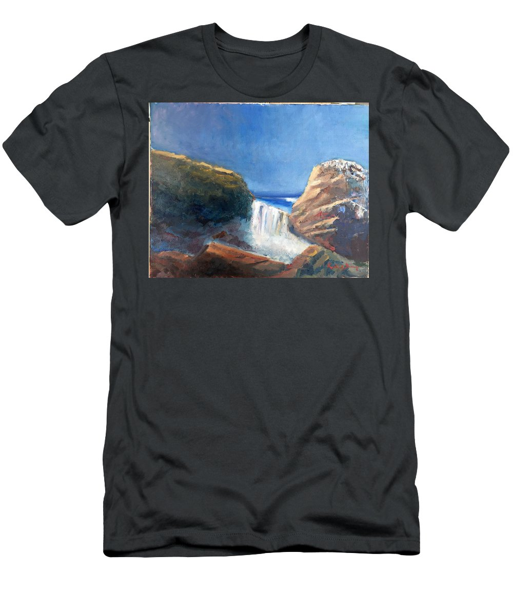 Landscape Men's T-Shirt (Athletic Fit) featuring the painting Vista Del Difunto by Richard W Diego