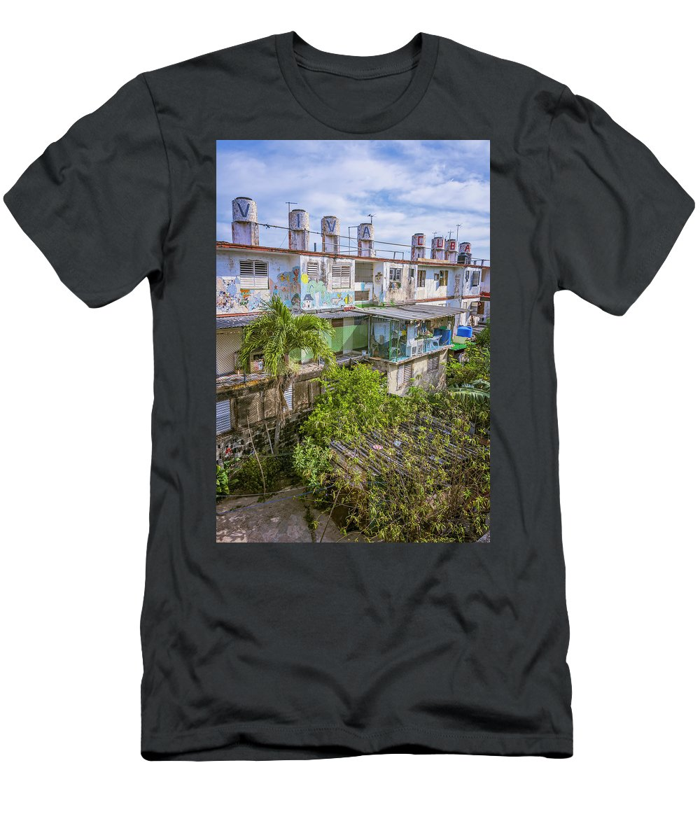 Joan Carroll Men's T-Shirt (Athletic Fit) featuring the photograph Viva Cuba Mosaic Havana by Joan Carroll