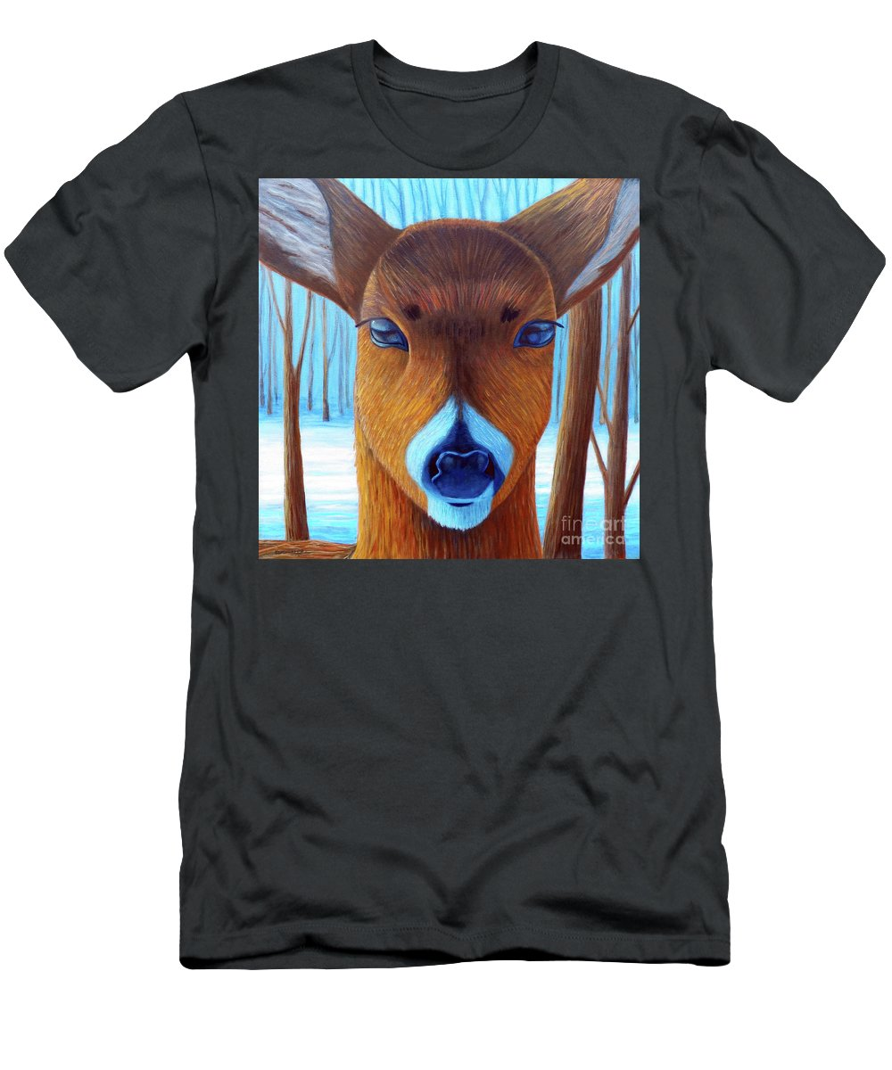 Deer T-Shirt featuring the painting Wait For The Magic by Brian Commerford