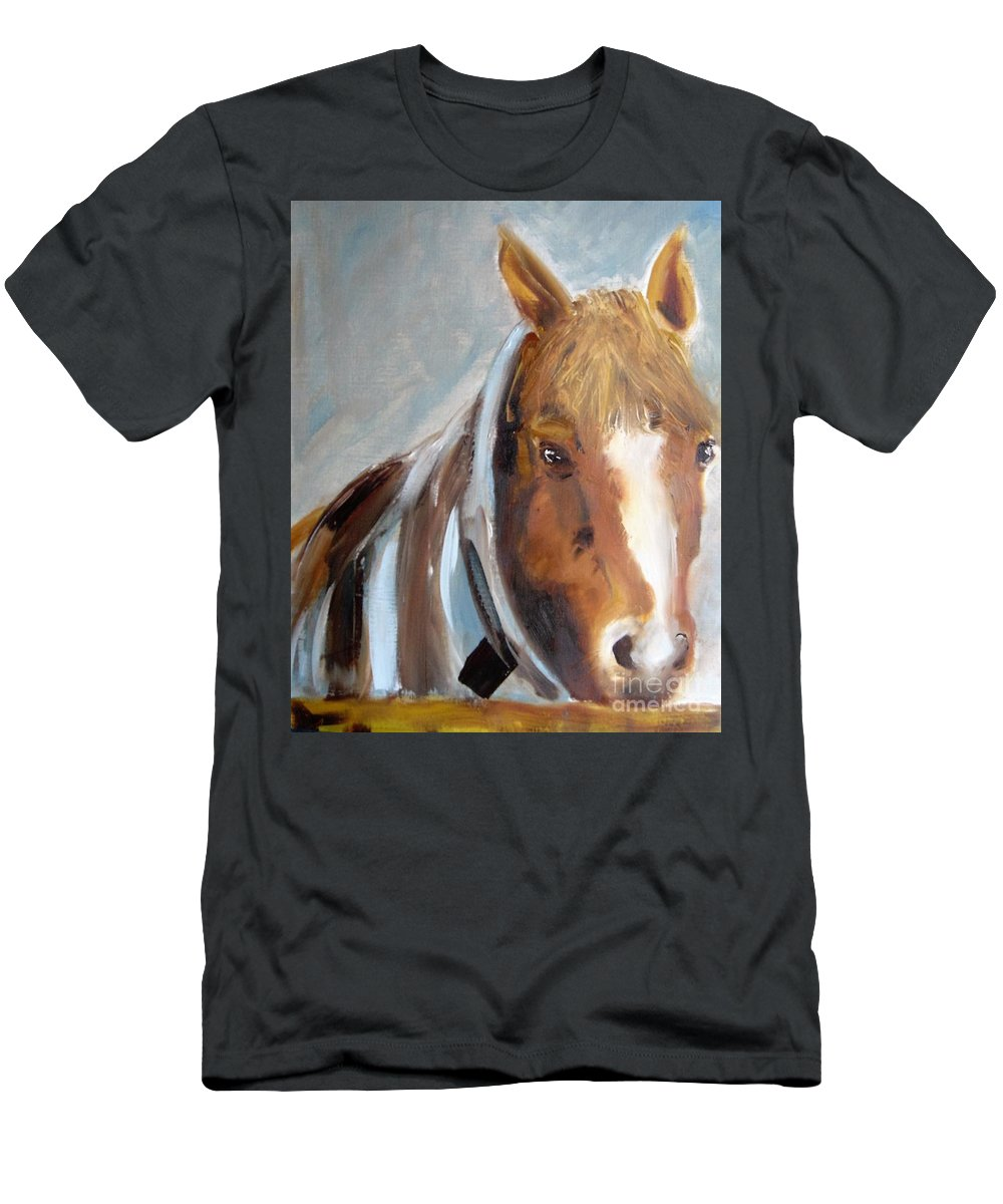 Horse Men's T-Shirt (Athletic Fit) featuring the painting Waiting For His Master by Angela Cartner
