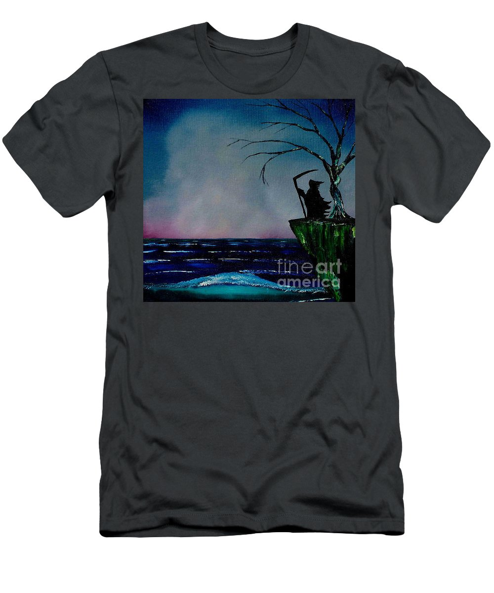 Men's T-Shirt (Athletic Fit) featuring the painting Waiting For Life's End by Dell Justice