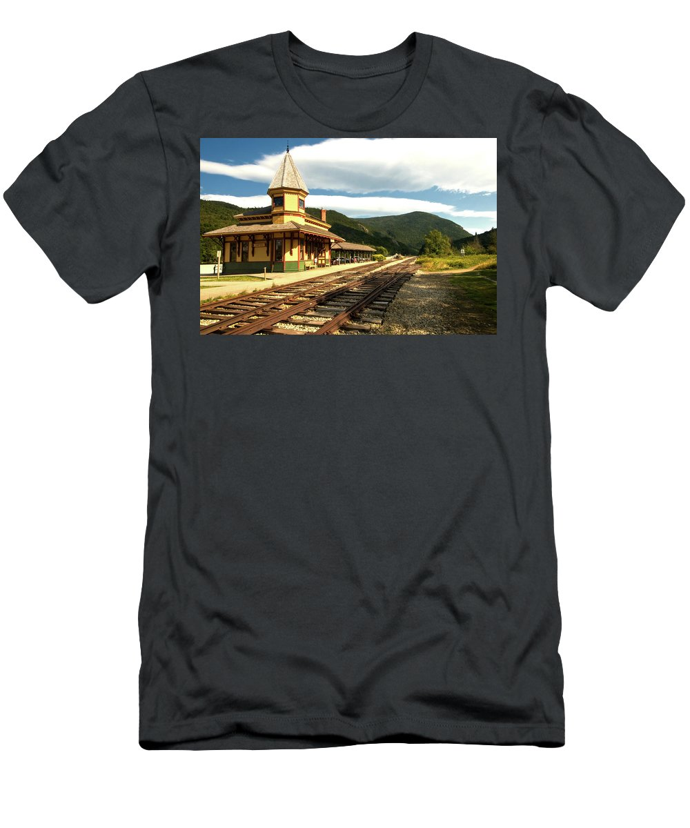 white Mountains Men's T-Shirt (Athletic Fit) featuring the photograph Waiting For The Train by Paul Mangold