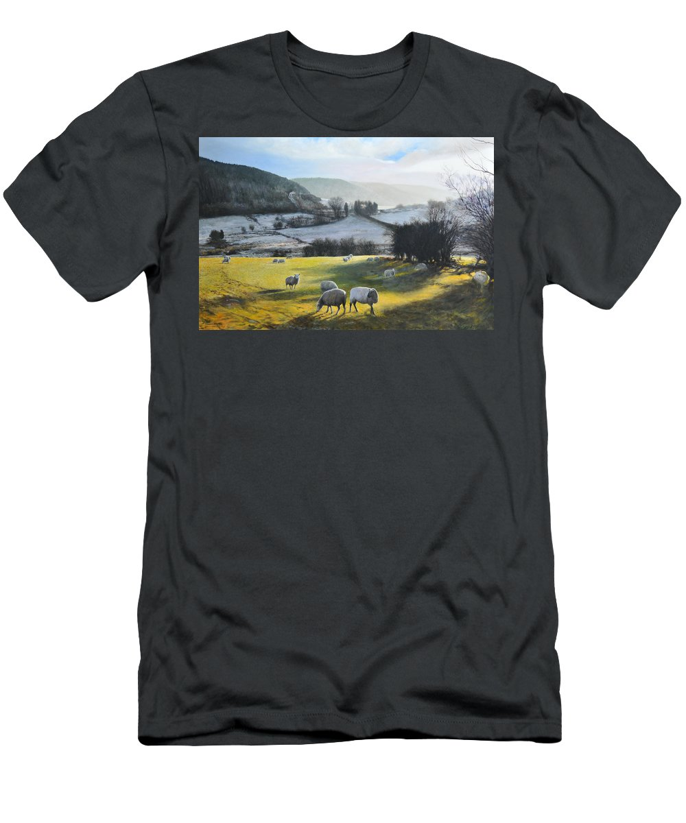 Wales Men's T-Shirt (Athletic Fit) featuring the painting Wales. by Harry Robertson