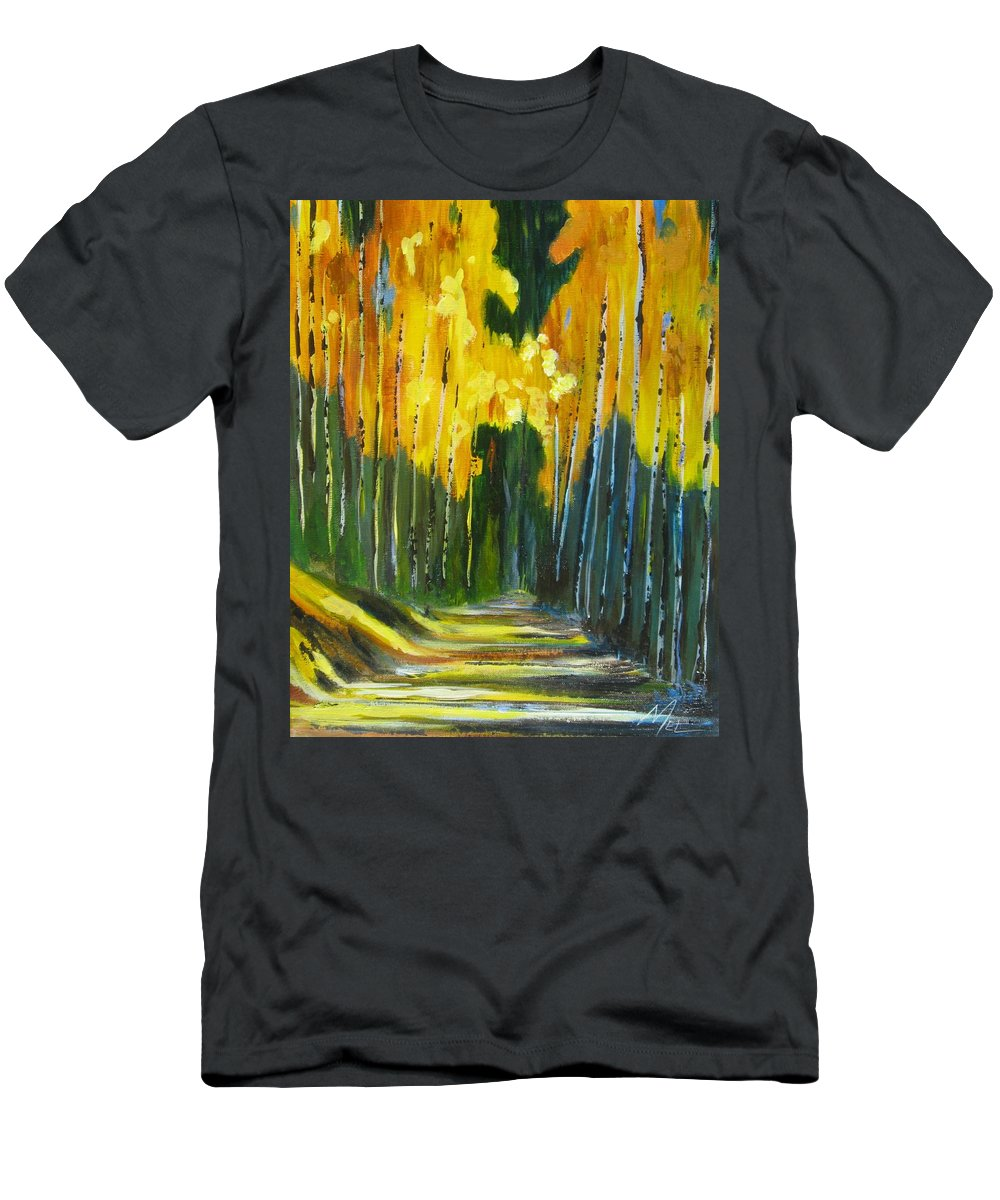 Forest Men's T-Shirt (Athletic Fit) featuring the painting Walk In The Forest by Melody Horton Karandjeff