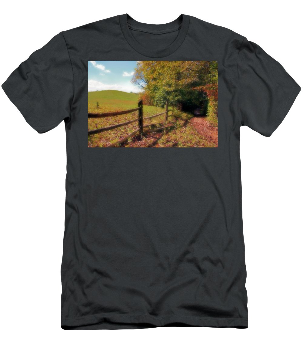 Hill Men's T-Shirt (Athletic Fit) featuring the digital art Walk With Me by Kristin Elmquist
