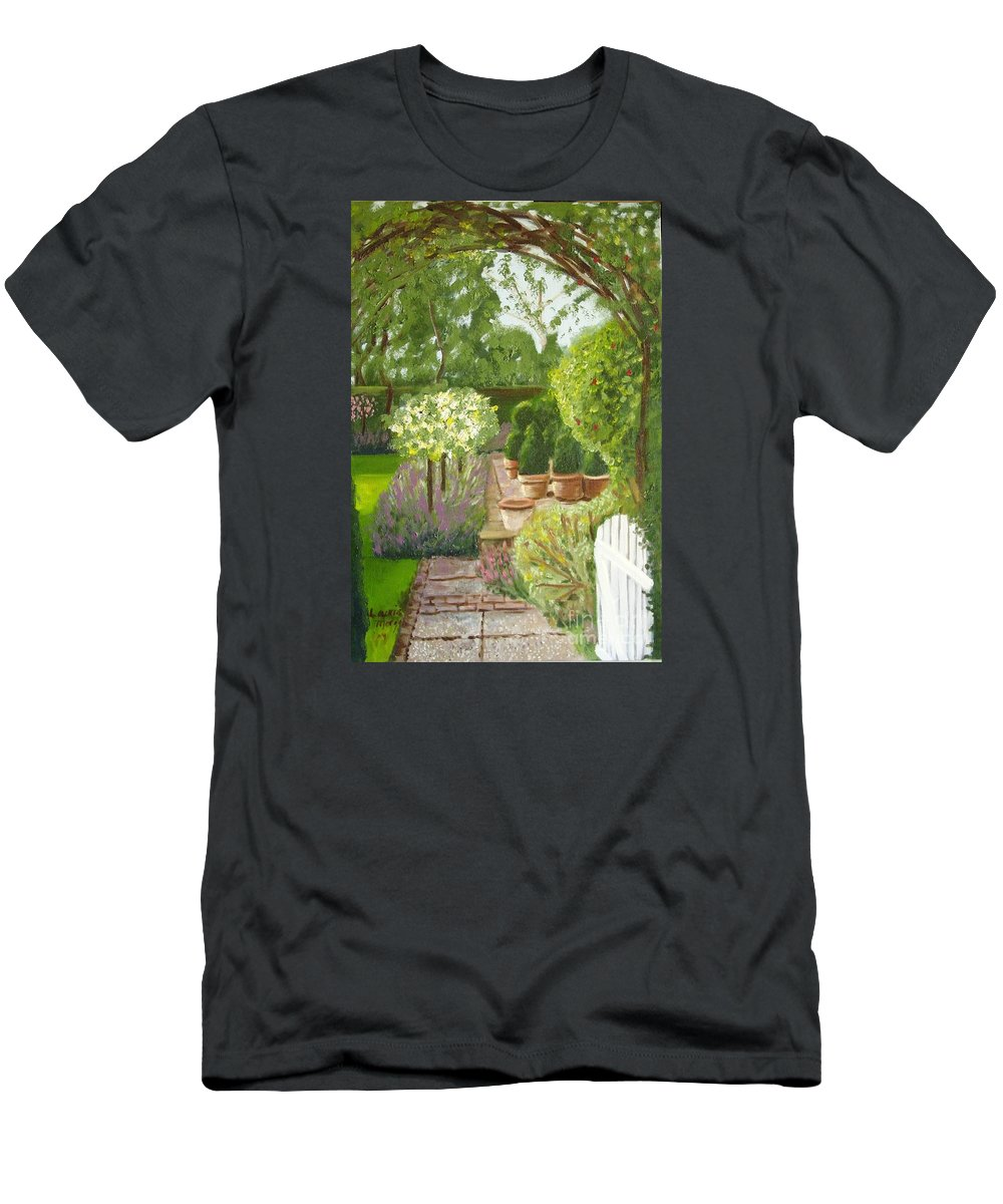 Garden T-Shirt featuring the painting Walk with Me by Laurie Morgan