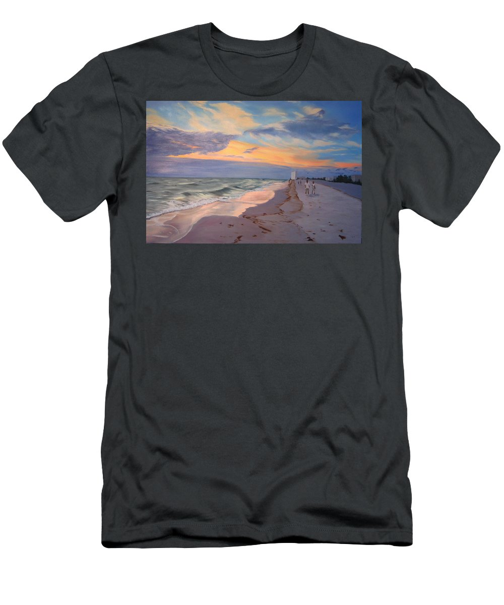 Seascape Men's T-Shirt (Athletic Fit) featuring the painting Walking On The Beach At Sunset by Lea Novak