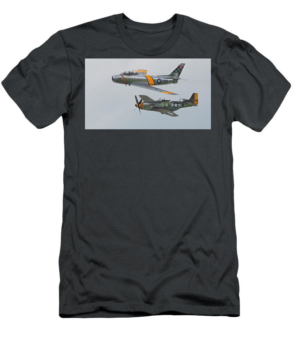F-86 Men's T-Shirt (Athletic Fit) featuring the photograph Warbirds Heritage F-86 Sabre And P-51 Mustang by Bruce Beck