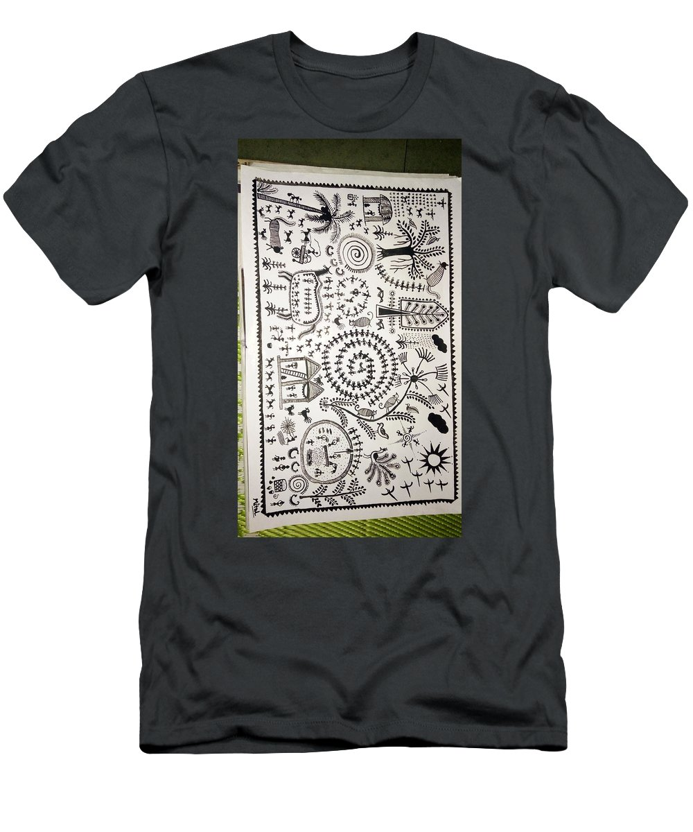 Warli Landscape. Men's T-Shirt (Athletic Fit) featuring the painting Warli Tribal Painting by Mitalkumari Patel
