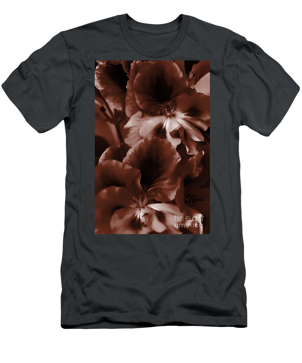 Clay Men's T-Shirt (Athletic Fit) featuring the photograph Warm Tone Monochrome Floral Art by Clayton Bruster