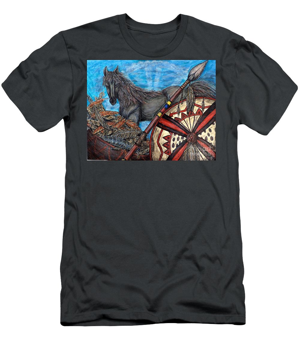 Animals Men's T-Shirt (Athletic Fit) featuring the painting Warrior Spirit by Kim Jones