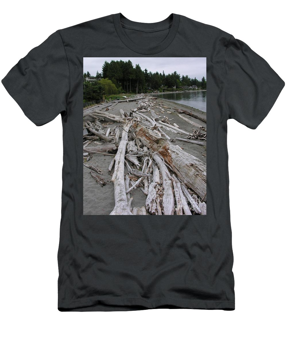 Beach Men's T-Shirt (Athletic Fit) featuring the photograph Washed Up by Diane Greco-Lesser