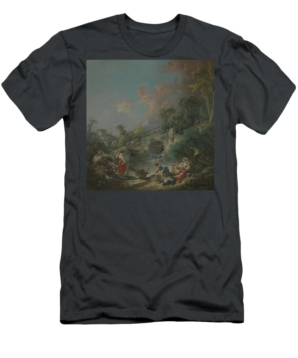 Washerwomen Men's T-Shirt (Athletic Fit) featuring the painting Washerwomen by MotionAge Designs