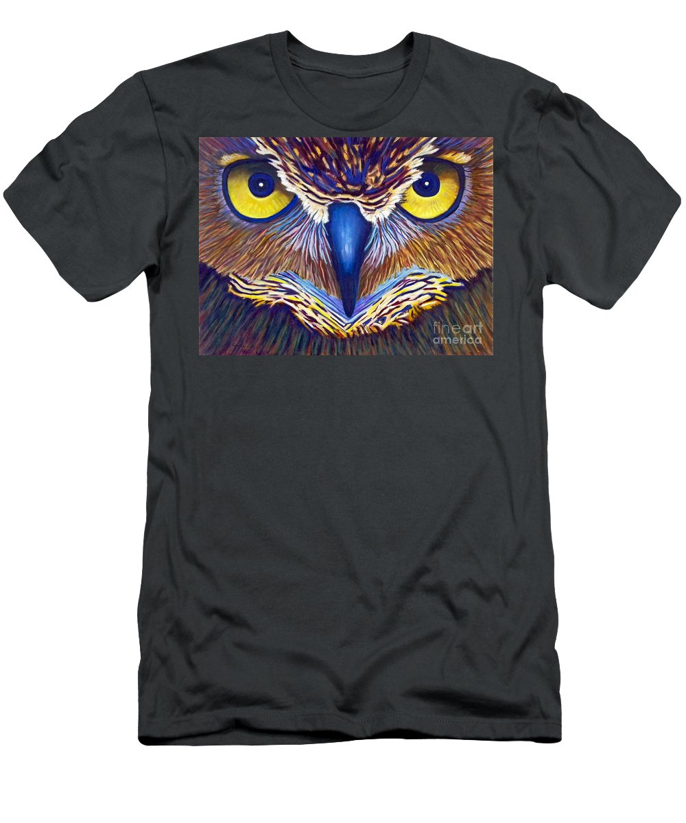 Owl Men's T-Shirt (Athletic Fit) featuring the painting Watching by Brian Commerford