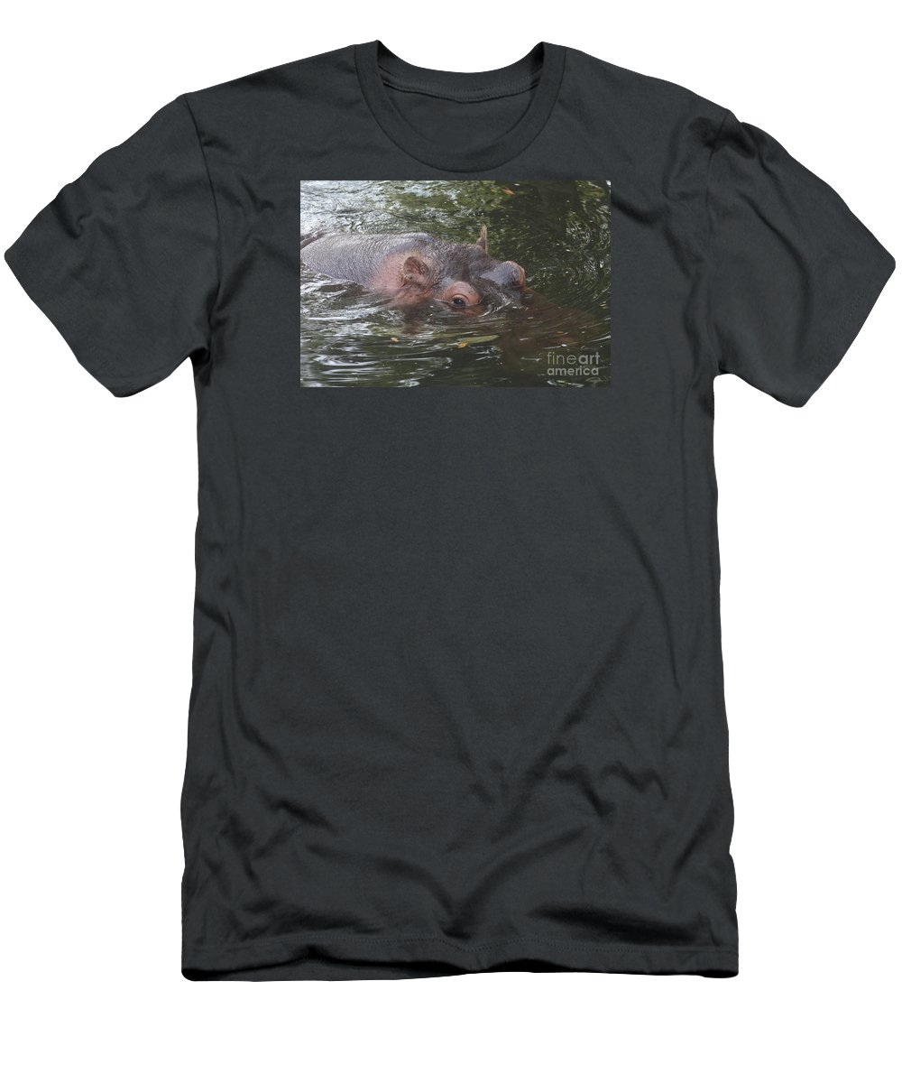 Hippo Men's T-Shirt (Athletic Fit) featuring the photograph Watching Out by Christiane Schulze Art And Photography