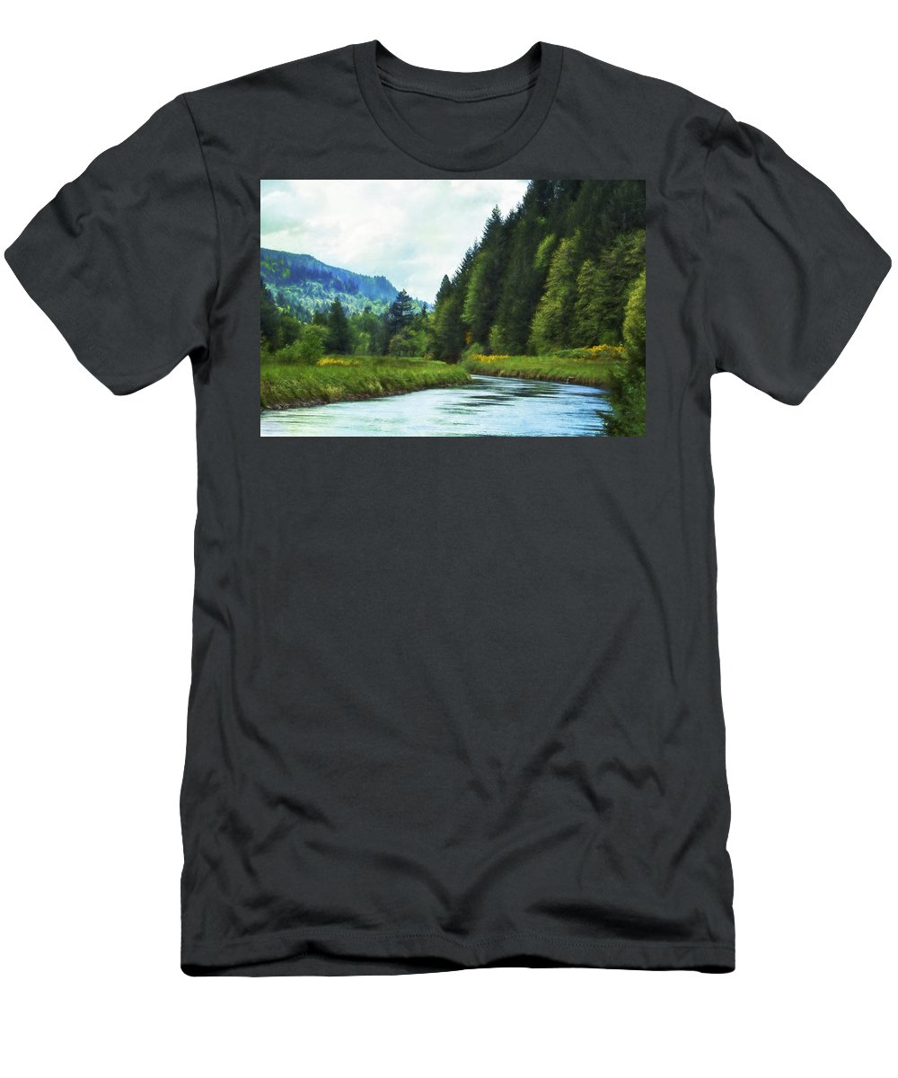 Canal Men's T-Shirt (Athletic Fit) featuring the photograph Watching The Days Go By by Belinda Greb