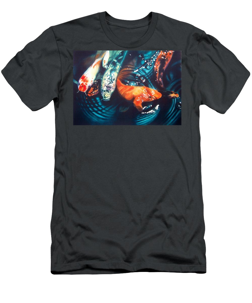 Koi Men's T-Shirt (Athletic Fit) featuring the painting Water Ballet by Denny Bond