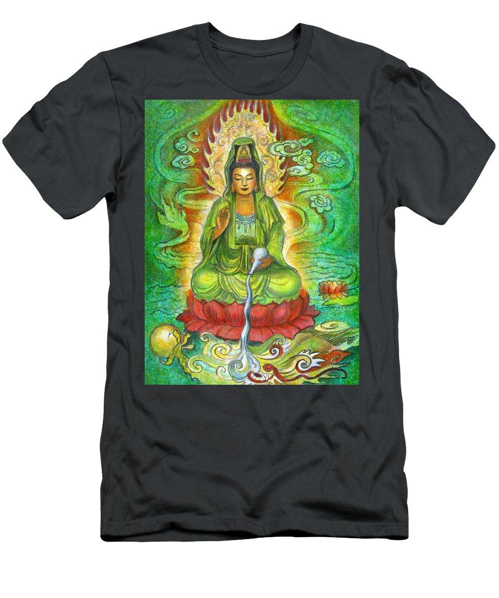 Kuan Yin T-Shirt featuring the painting Water Dragon Kuan Yin by Sue Halstenberg
