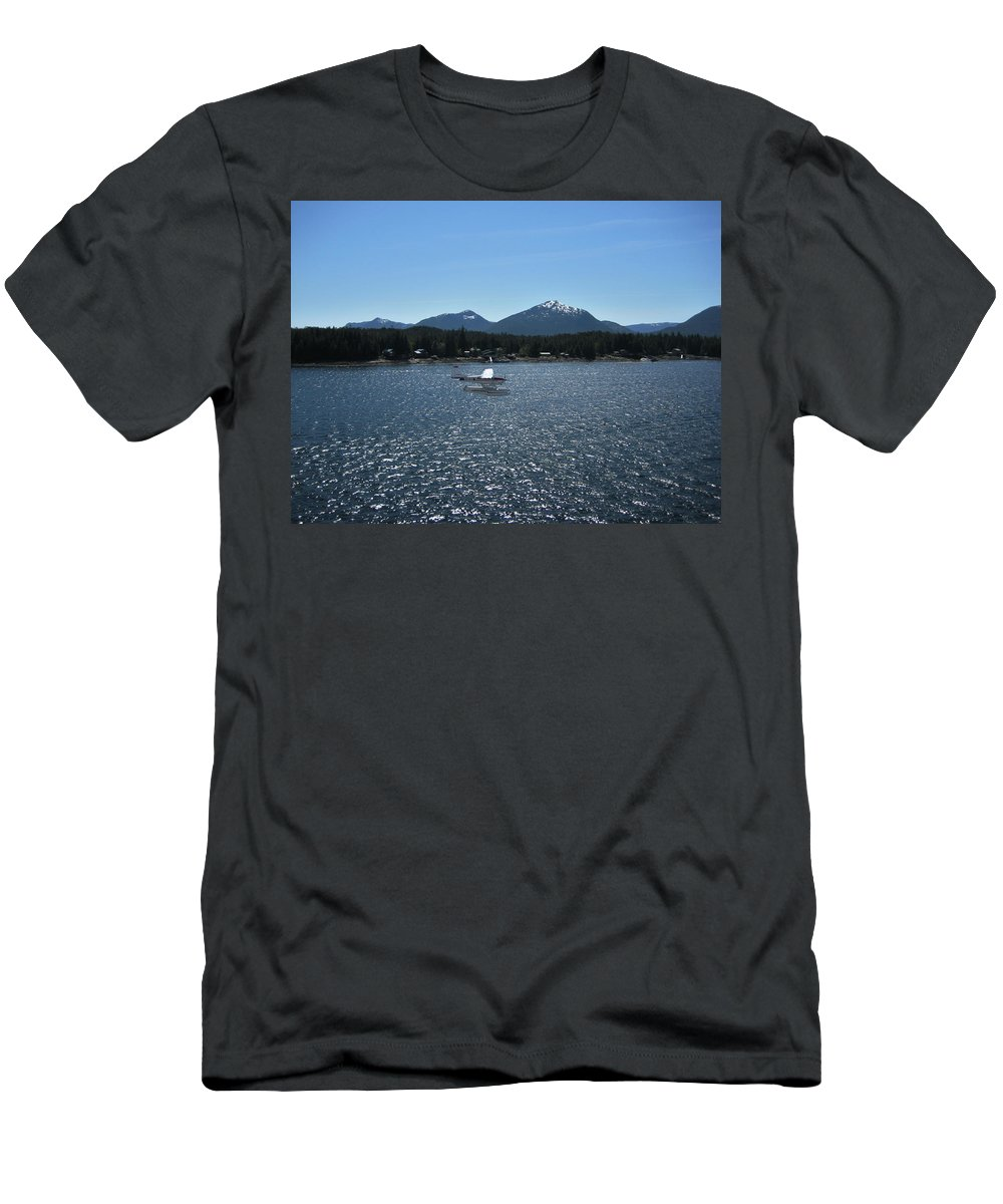Seaplane Men's T-Shirt (Athletic Fit) featuring the photograph Water Landing by Lori Tambakis