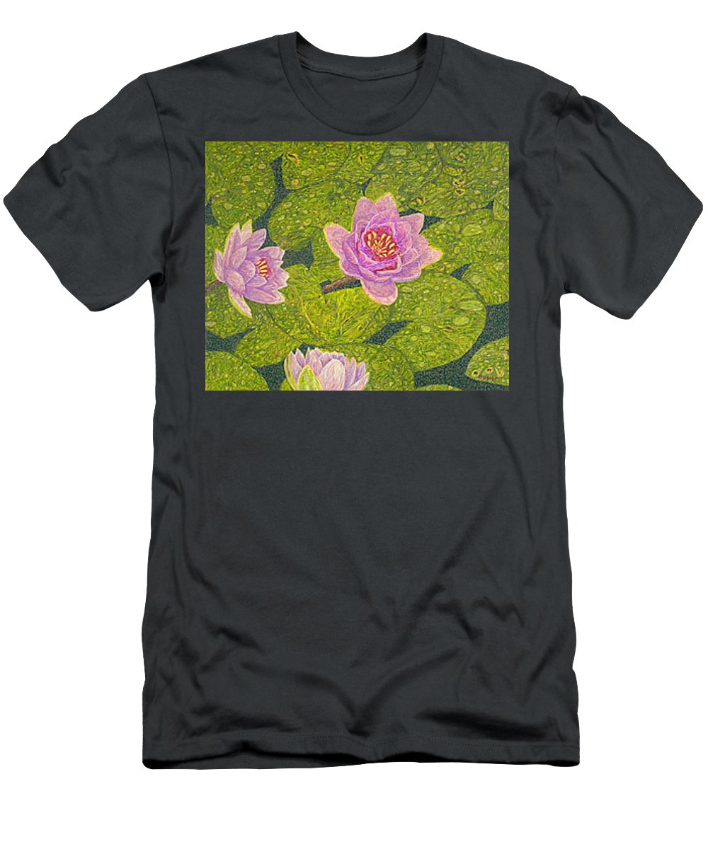 Water Lilies Men's T-Shirt (Athletic Fit) featuring the drawing Water Lilies Lily Flowers Lotuses Fine Art Prints Contemporary Modern Art Garden Nature Botanical by Baslee Troutman