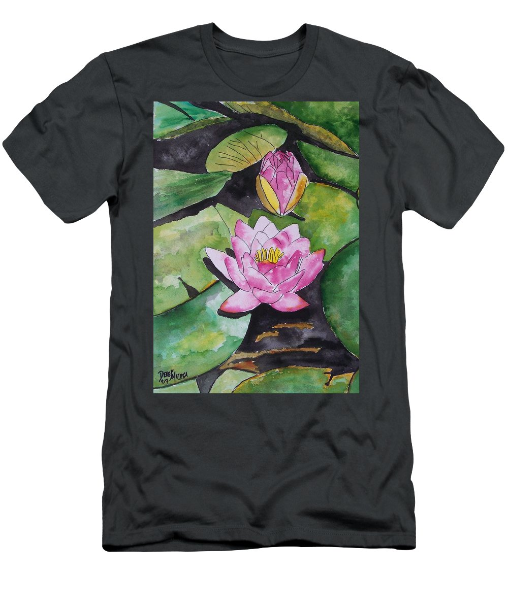 Water Lily Men's T-Shirt (Athletic Fit) featuring the painting Water Lily by Derek Mccrea