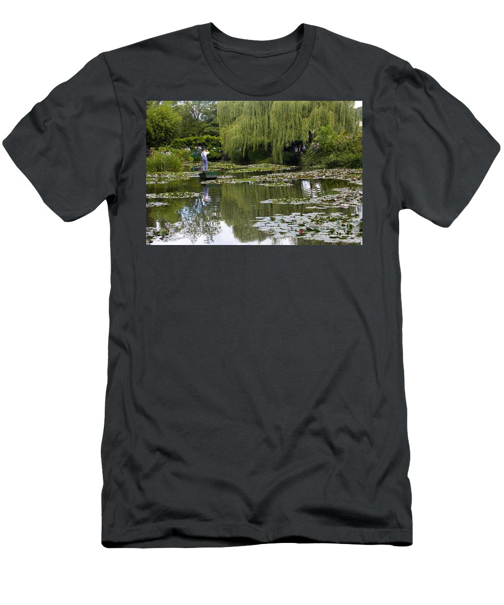 Monet Gardens Giverny France Water Lily Punt Boat Water Willows Men's T-Shirt (Athletic Fit) featuring the photograph Water Lily Garden Of Monet In Giverny by Sheila Smart Fine Art Photography