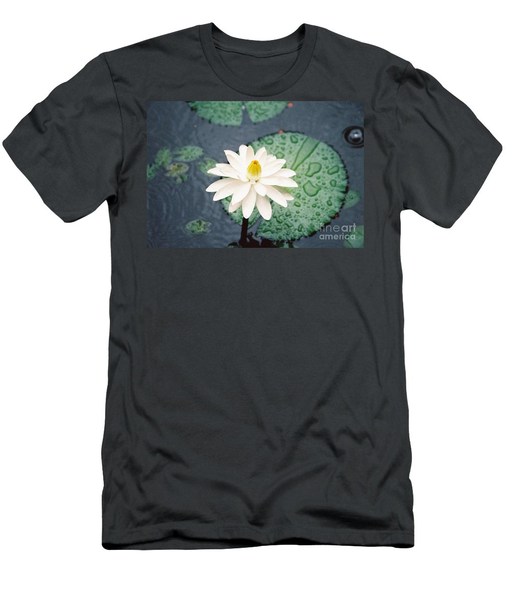 Flowers Men's T-Shirt (Athletic Fit) featuring the photograph Water Lily by Kathy McClure