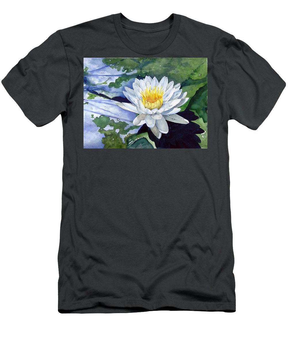 Flower Men's T-Shirt (Athletic Fit) featuring the painting Water Lily by Sam Sidders