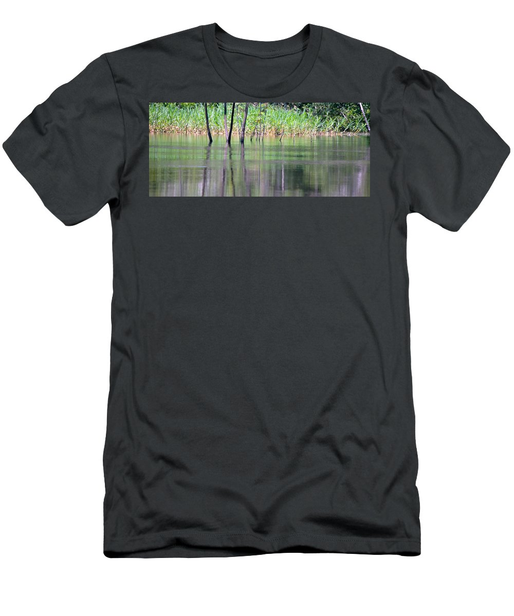 Dangerous Men's T-Shirt (Athletic Fit) featuring the photograph Water Reflections On Amazon River by HQ Photo