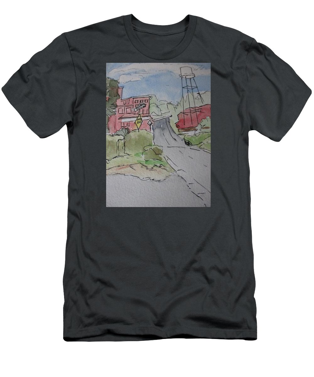 Tower Men's T-Shirt (Athletic Fit) featuring the painting Water Tower by Katherine Berlin