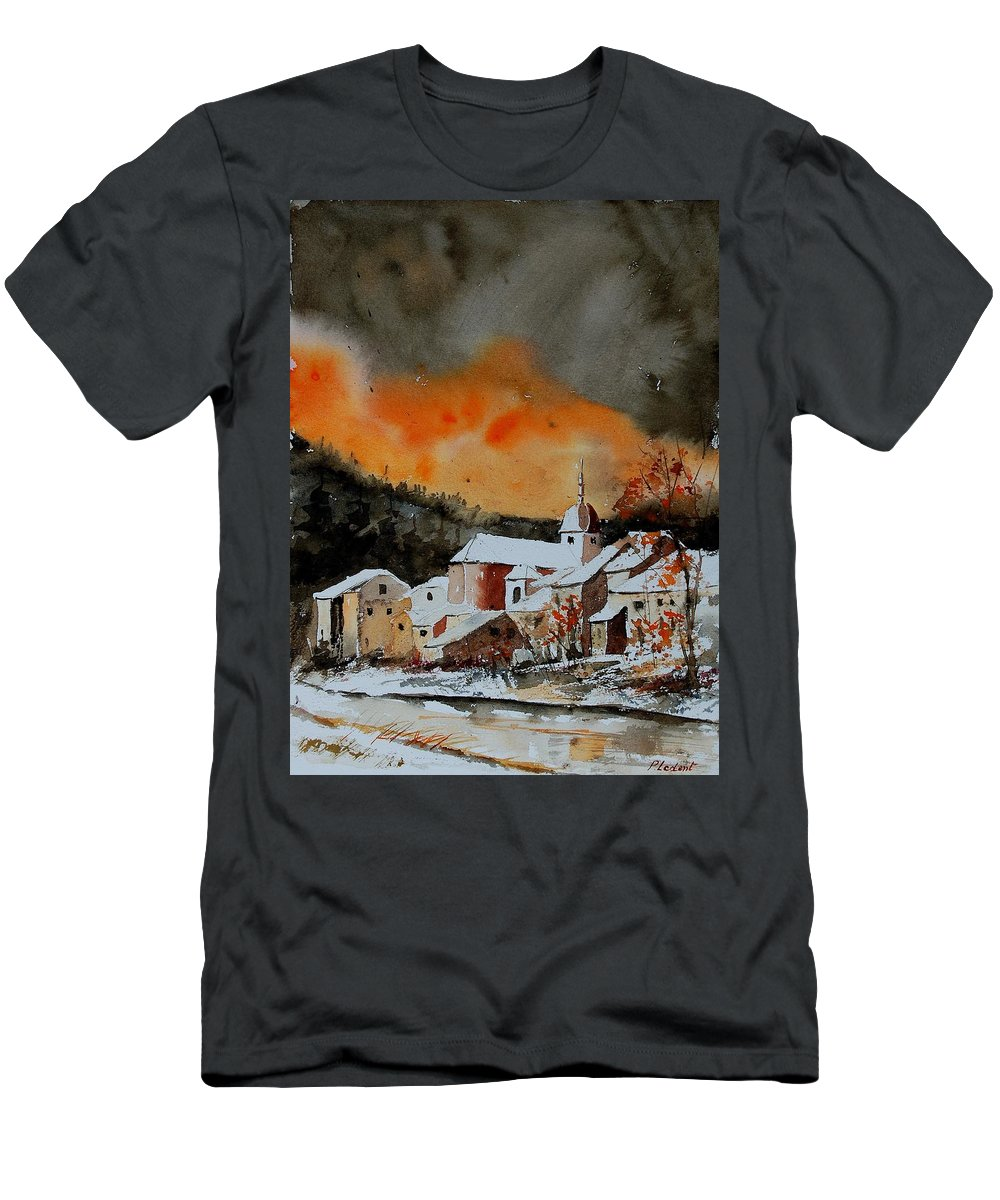 Winter Men's T-Shirt (Athletic Fit) featuring the painting Watercolor 050707 by Pol Ledent
