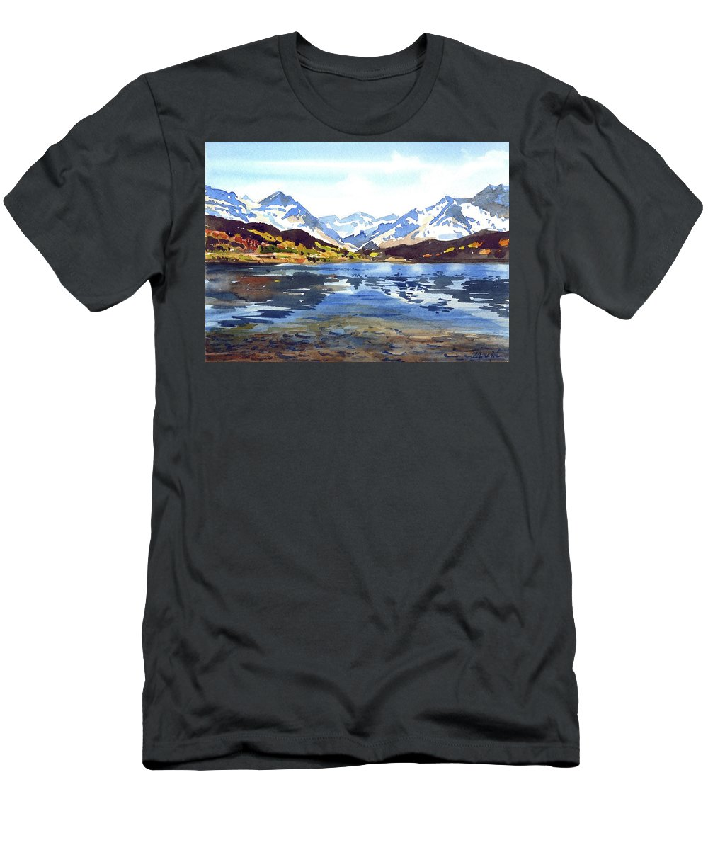 Colorado Landscape Men's T-Shirt (Athletic Fit) featuring the painting Watercolor Lake Reflection by Ugljesa Janjic