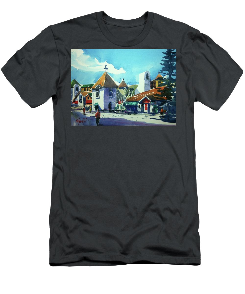 Colorado Landscape Vail Men's T-Shirt (Athletic Fit) featuring the painting Watercolor3823 by Ugljesa Janjic