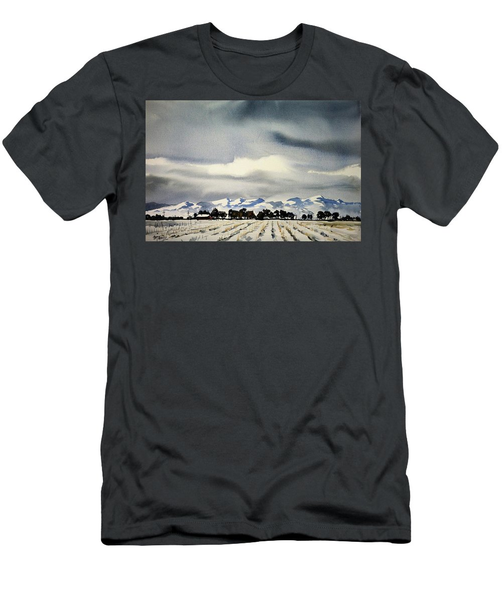 Colorado Landscape Men's T-Shirt (Athletic Fit) featuring the painting Watercolor3970 by Ugljesa Janjic