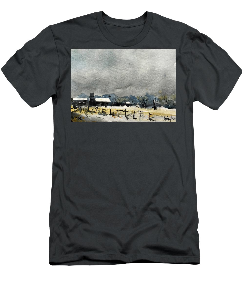 Colorado Landscape Men's T-Shirt (Athletic Fit) featuring the painting Watercolor7232 by Ugljesa Janjic