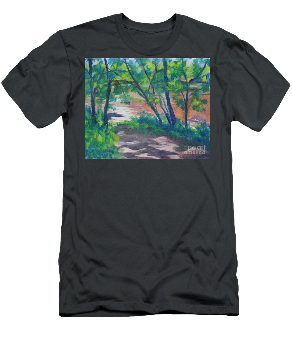 Landscape Men's T-Shirt (Athletic Fit) featuring the painting Watercress Beach On The Current River  by Jan Bennicoff