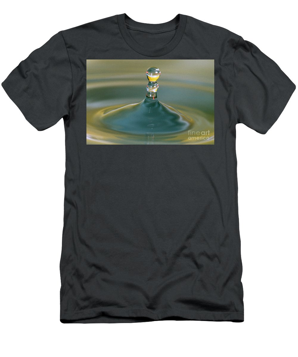 Water Men's T-Shirt (Athletic Fit) featuring the photograph Waterdrop by Heiko Koehrer-Wagner