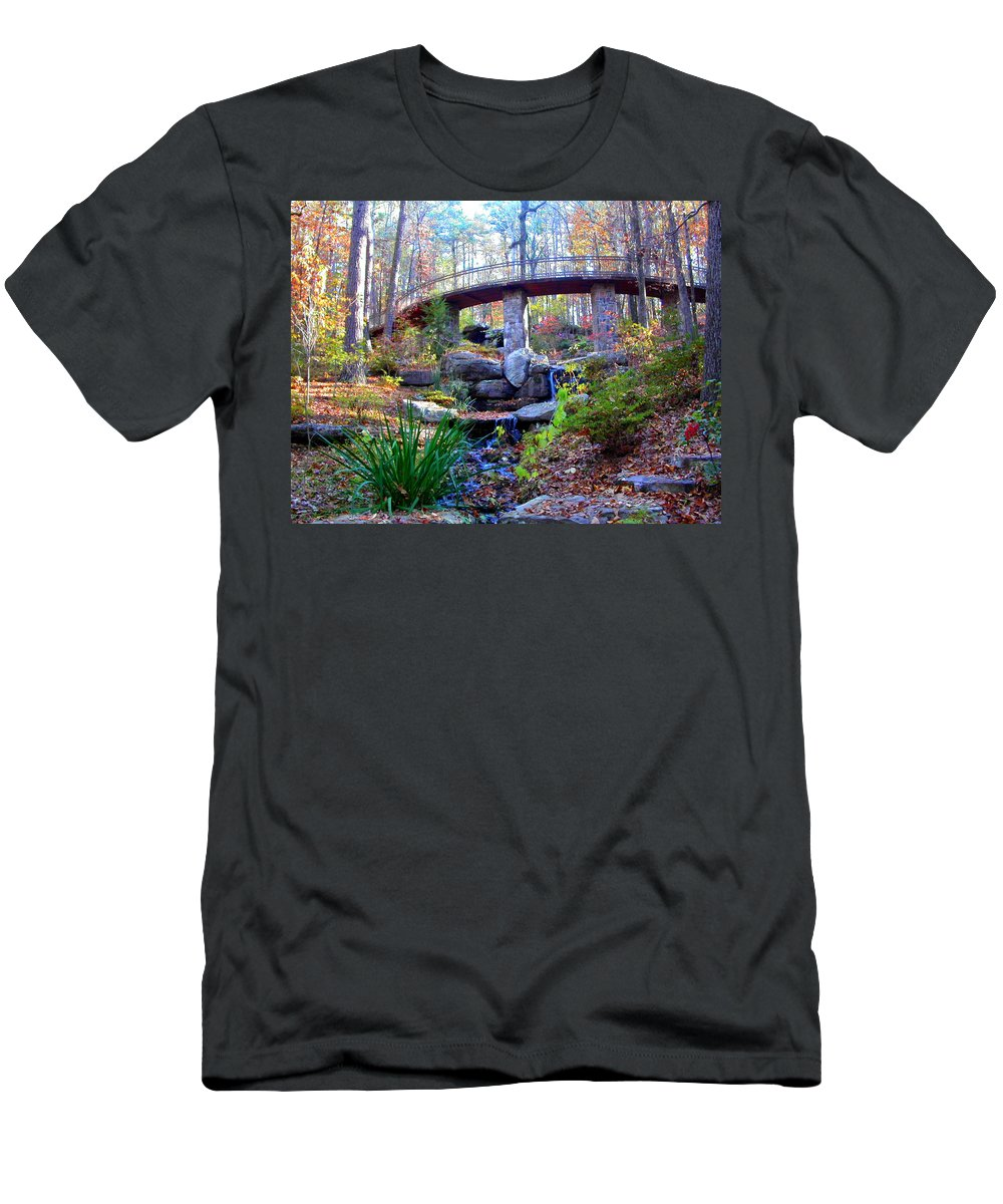 Waterfall Men's T-Shirt (Athletic Fit) featuring the photograph Waterfall And A Bridge In The Fall by Anne Cameron Cutri