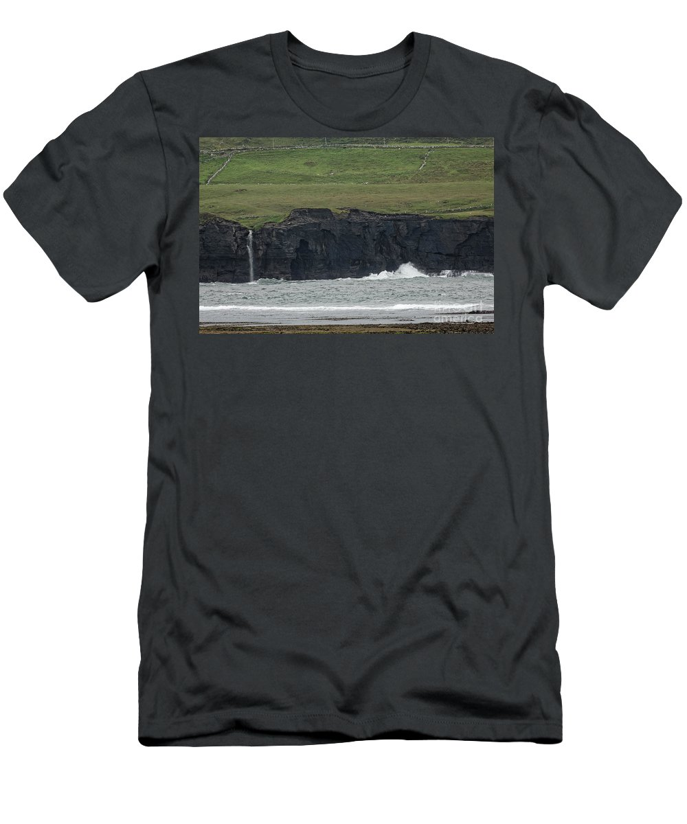 Waterfall Men's T-Shirt (Athletic Fit) featuring the photograph Waterfall At The Cliffs Of Moher by Natural Focal Point Photography