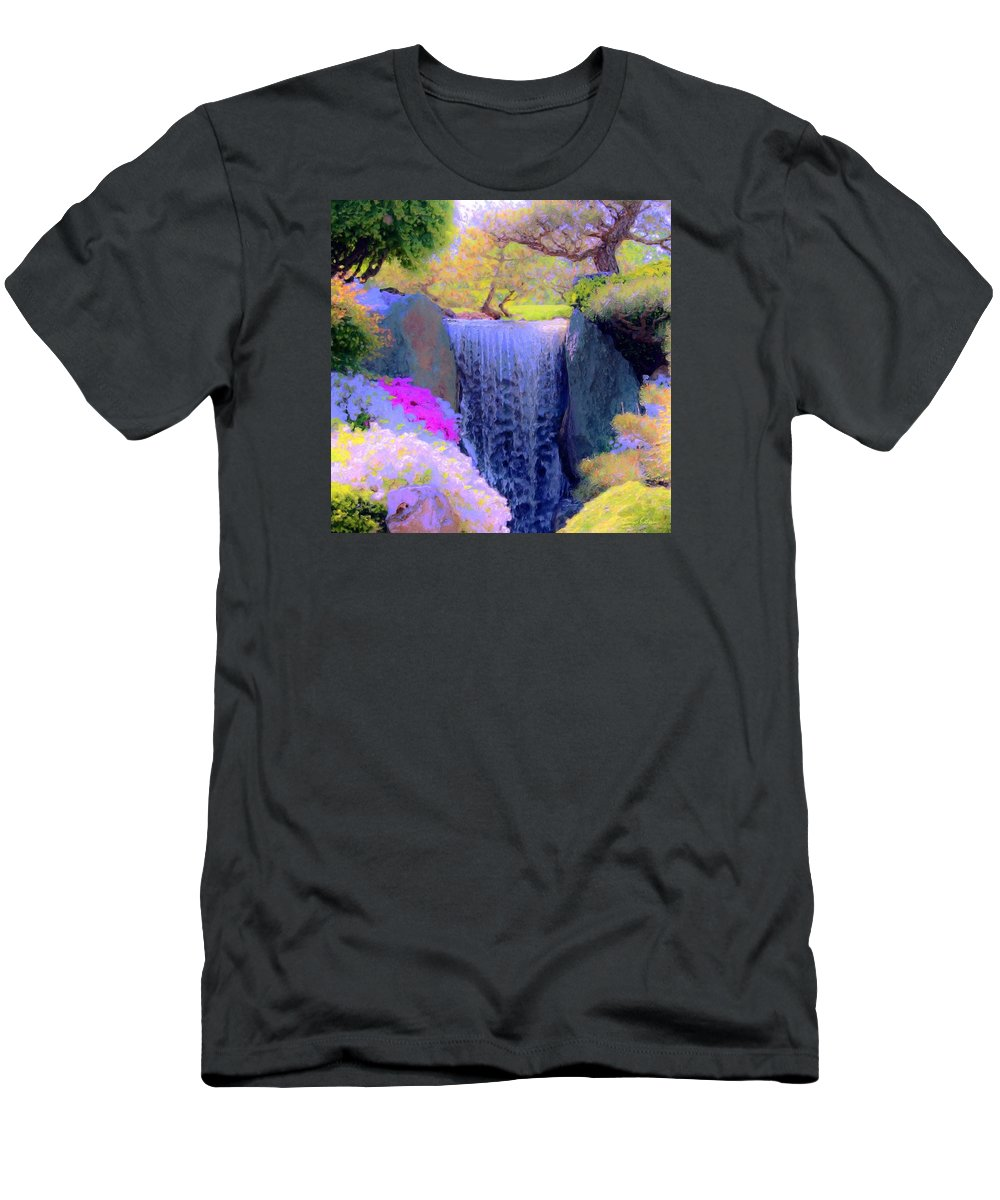 Tree Men's T-Shirt (Athletic Fit) featuring the painting Waterfall Spring Colors by Susanna Katherine