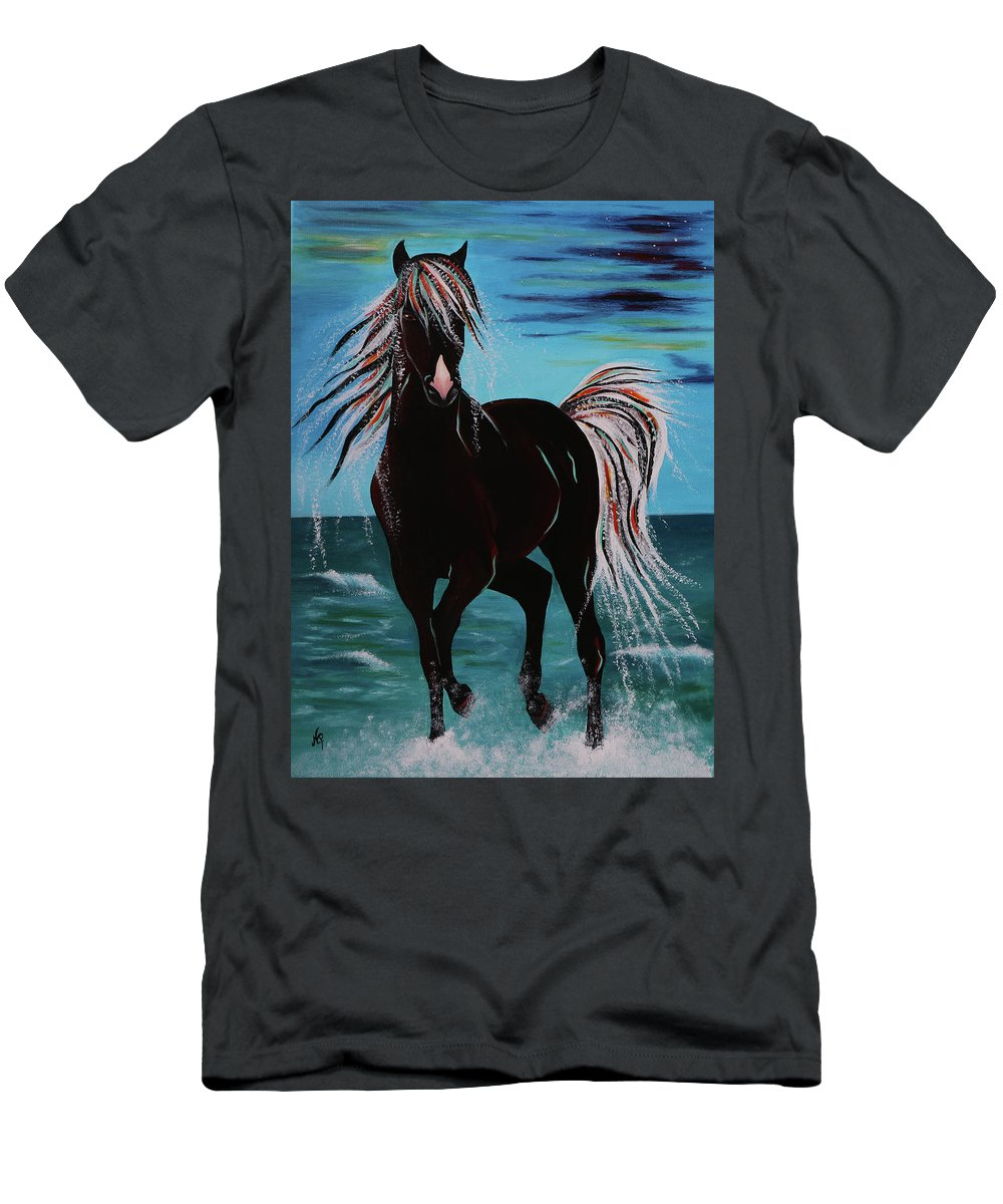 Horse T-Shirt featuring the painting Waterhorse by Nicole Paquette